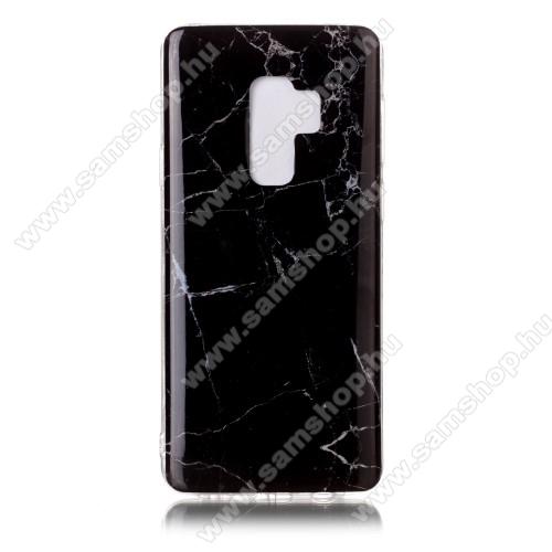 Szilikon védő tok / hátlap - MÁRVÁNY MINTÁS - FEKETE - SAMSUNG SM-G965 Galaxy S9+