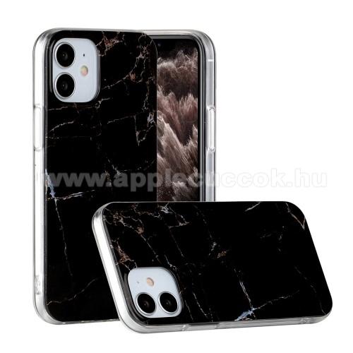 Szilikon védő tok / hátlap - MÁRVÁNY MINTÁS - FEKETE - APPLE iPhone 12 mini