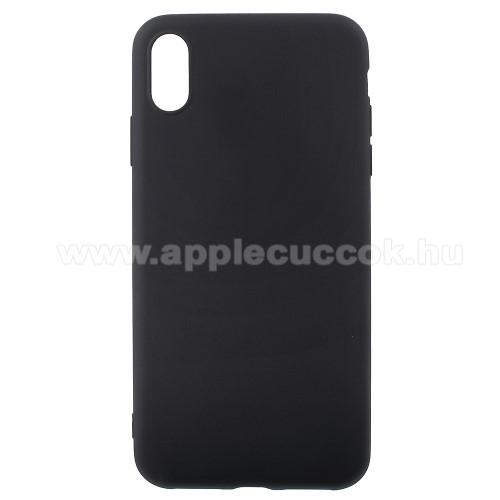 Szilikon védő tok / hátlap - MATT FEKETE - APPLE iPhone XS Max