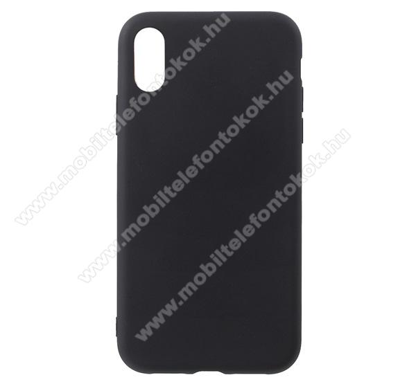 Szilikon védő tok / hátlap - MATT FEKETE - fényes keret - APPLE iPhone Xr