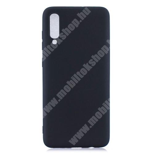 Szilikon védő tok / hátlap - MATT - FEKETE - SAMSUNG SM-A705F Galaxy A70