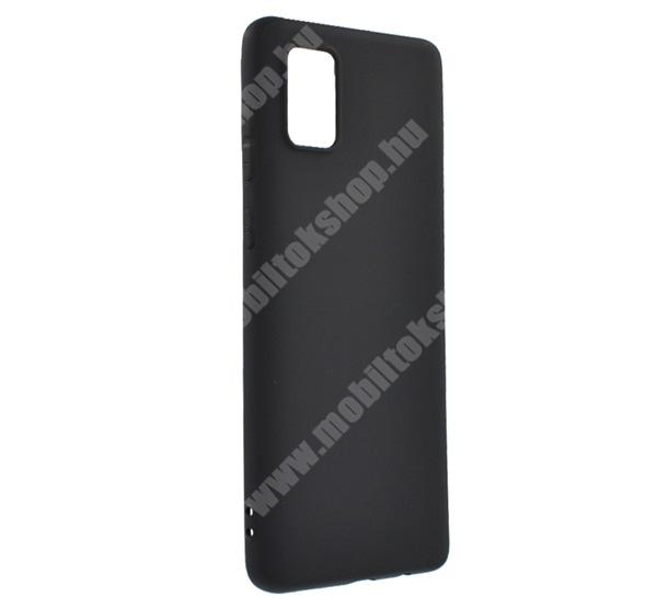 Szilikon védő tok / hátlap - MATT - FEKETE - SAMSUNG SM-A715F Galaxy A71