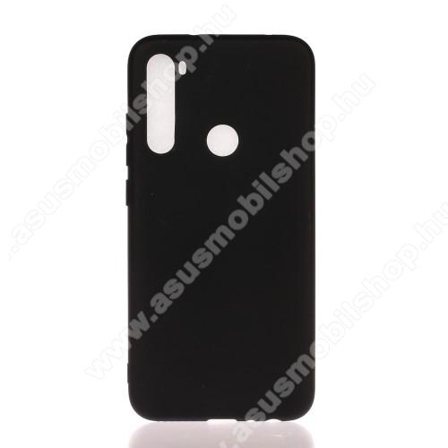 Szilikon védő tok / hátlap - MATT - FEKETE - Xiaomi Redmi Note 8