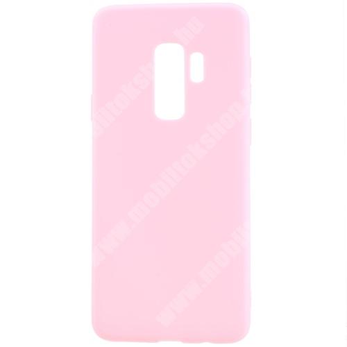 Szilikon védő tok / hátlap - MATT - RÓZSASZÍN - SAMSUNG SM-G965 Galaxy S9+