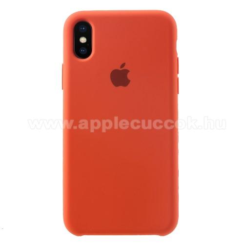 Szilikon védő tok / hátlap - mikroszálas szövettel bevont belsővel - NARANCS - APPLE iPhone X / APPLE iPhone XS