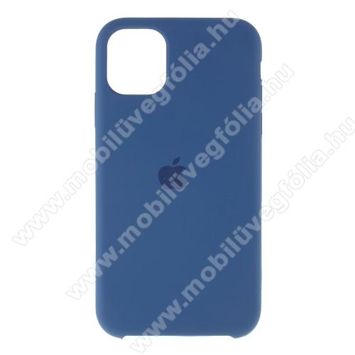 Szilikon védő tok / hátlap - mikroszálas szövettel bevont belsővel - VILÁGOSKÉK - APPLE iPhone 11 Pro Max