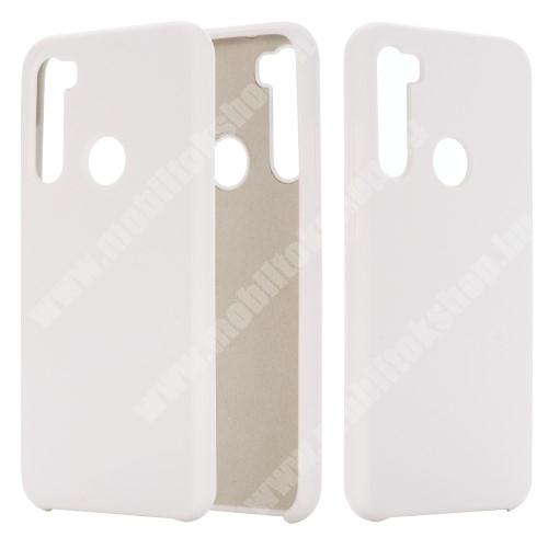 Szilikon védő tok / hátlap - mikroszálas szövettel bevont belsővel - FEHÉR - Xiaomi Redmi Note 8