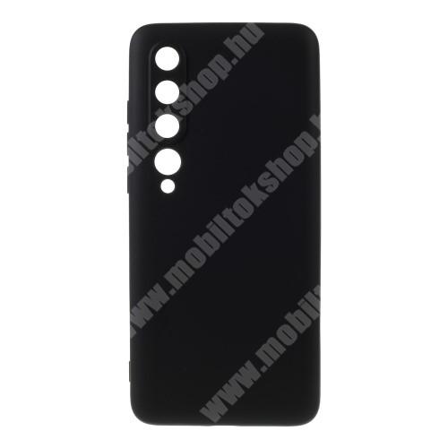 Szilikon védő tok / hátlap - mikroszálas szövettel bevont belsővel - FEKETE - Xiaomi Mi 10 5G / Xiaomi Mi 10 Pro 5G