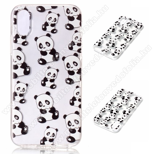 Szilikon védő tok / hátlap - PANDA MINTÁS - APPLE iPhone X / APPLE iPhone XS