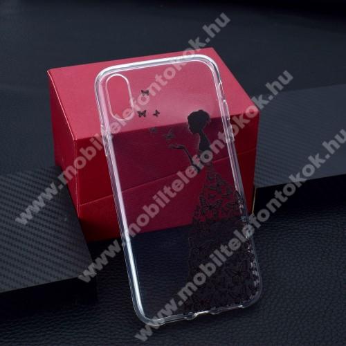 APPLE iPhone XrSzilikon védő tok / hátlap - PILLANGÓ / LÁNY MINTÁS - APPLE iPhone Xr