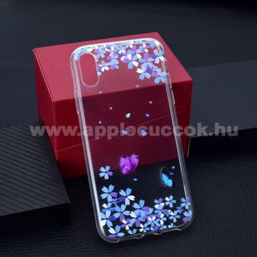 Szilikon védő tok / hátlap - PILLANGÓ / VIRÁG MINTÁS - APPLE iPhone Xr