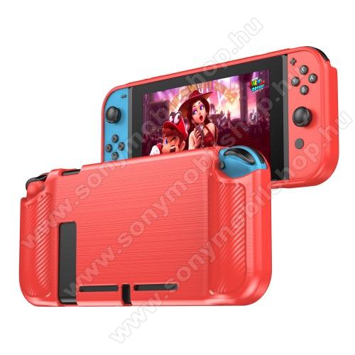 Szilikon védő tok / hátlap - PIROS - karbon mintás - Nintendo Switch Lite
