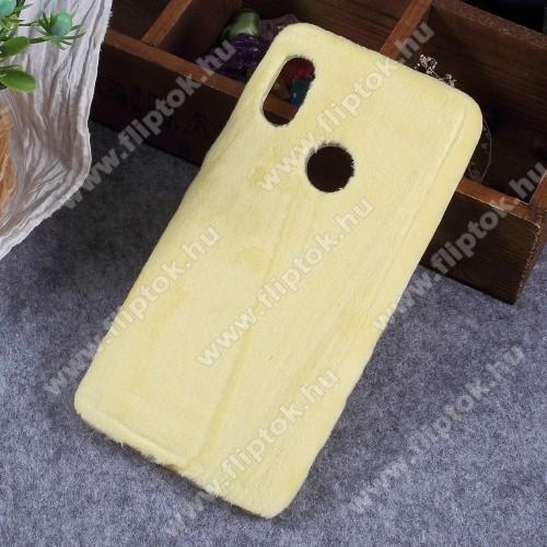 Szilikon védő tok / hátlap - plüss bevonattal - SÁRGA - Xiaomi Mi 6X / Xiaomi Mi A2