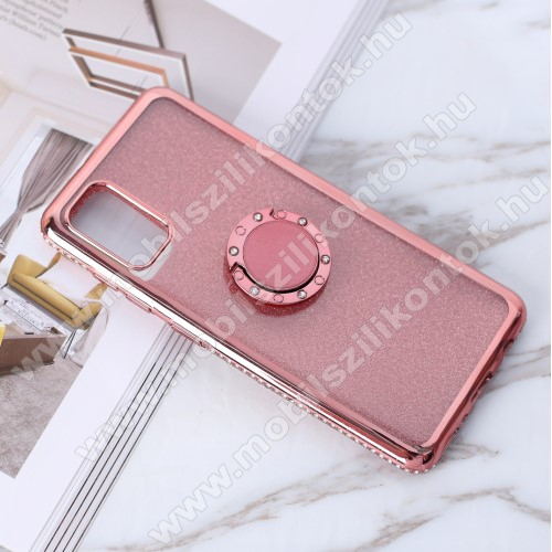 Szilikon védő tok / hátlap - ROSE GOLD - strassz köves, fém ujjgyűrű, tapadófelület mágneses autós tartóhoz - SAMSUNG Galaxy A41 (SM-A415F)