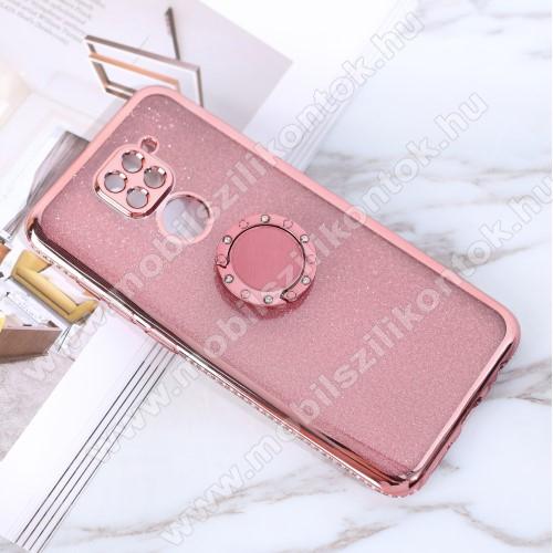 Szilikon védő tok / hátlap - ROSE GOLD - strassz köves, fém ujjgyűrű, tapadófelület mágneses autós tartóhoz - Xiaomi Redmi Note 9 / Xiaomi Redmi 10X 4G