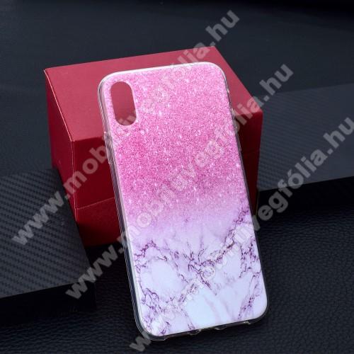 Szilikon védő tok / hátlap - RÓZSASZÍN MÁRVÁNY MINTÁS - APPLE iPhone Xr