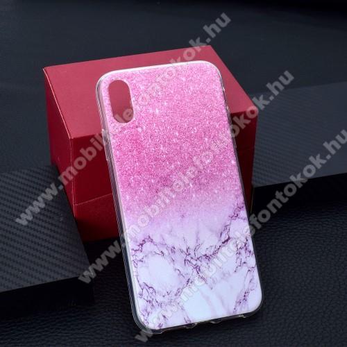 APPLE iPhone XrSzilikon védő tok / hátlap - RÓZSASZÍN MÁRVÁNY MINTÁS - APPLE iPhone Xr