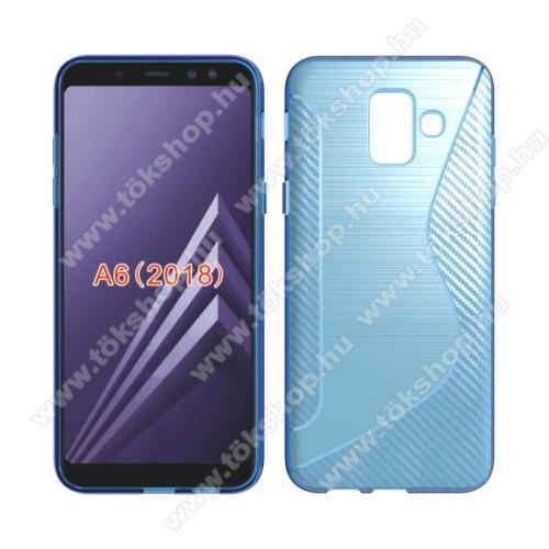 Szilikon védő tok / hátlap - S-Line, karbon mintás - VILÁGOSKÉK - SAMSUNG SM-A600F Galaxy A6 (2018)