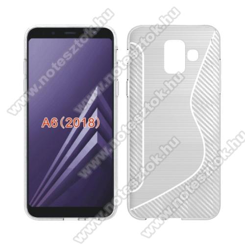 Szilikon védő tok / hátlap - S-Line, karbon mintás - ÁTLÁTSZÓ - SAMSUNG SM-A600F Galaxy A6 (2018)