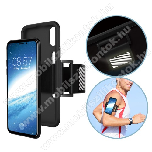 Szilikon védő tok / hátlap - Sport karpánt - FEKETE - APPLE iPhone X / APPLE iPhone XS