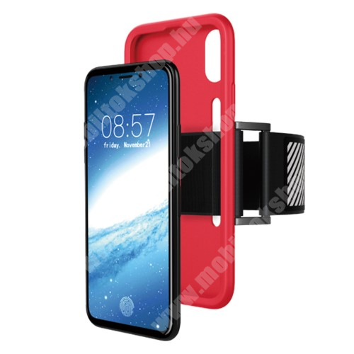 Szilikon védő tok / hátlap - Sport karpánt - PIROS - APPLE iPhone X / APPLE iPhone XS