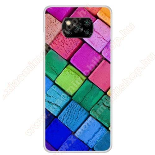 Szilikon védő tok / hátlap - SZÍNES KOCKA MINTÁS - Xiaomi Poco X3 / Poco X3 NFC