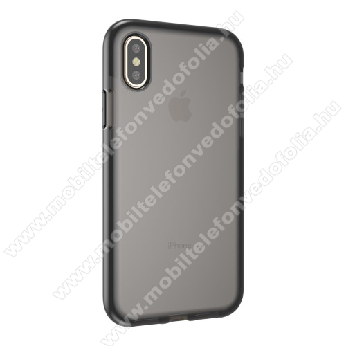 Szilikon védő tok / hátlap - SZÜRKE / FEKETE - APPLE iPhone X / APPLE iPhone XS