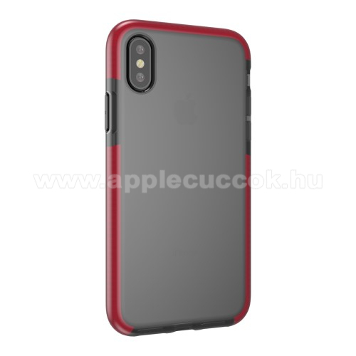 Szilikon védő tok / hátlap - SZÜRKE / PIROS - APPLE iPhone X / APPLE iPhone XS