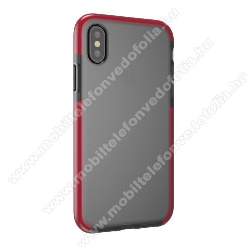 Szilikon védő tok / hátlap - SZÜRKE / PIROS - APPLE iPhone X / APPLE iPhone XS
