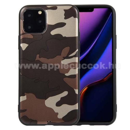 Szilikon védő tok / hátlap - TEREPMINTÁS - BARNA - APPLE iPhone 11