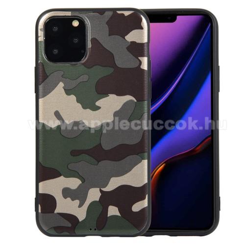 Szilikon védő tok / hátlap - TEREPMINTÁS - ZÖLD - APPLE iPhone 11