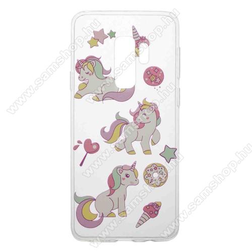 Szilikon védő tok / hátlap - UNIKORNIS MINTÁS - SAMSUNG SM-G965 Galaxy S9+