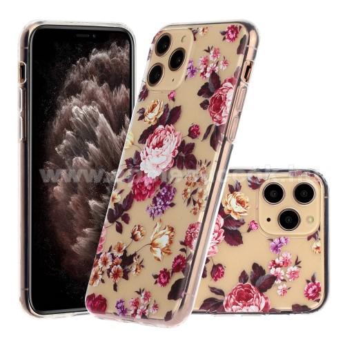 Szilikon védő tok / hátlap - VIRÁG MINTÁS - ÁTLÁTSZÓ - APPLE iPhone 11 Pro