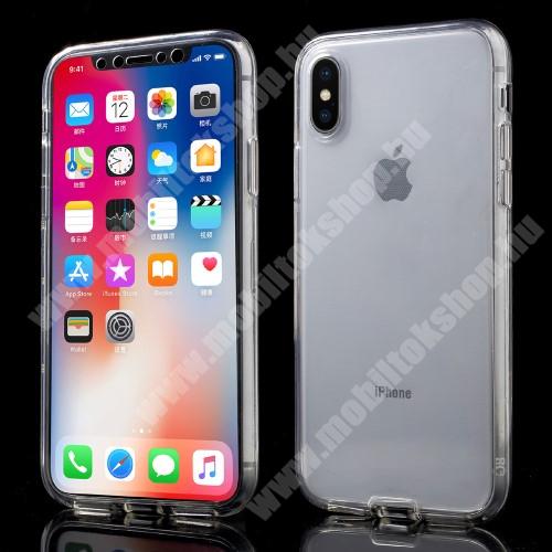 APPLE iPhone XS Szilikon védő tok - műanyag előlap, szilikon hátlap! - FÉNYES - ÁTLÁTSZÓ - APPLE iPhone X / APPLE iPhone XS