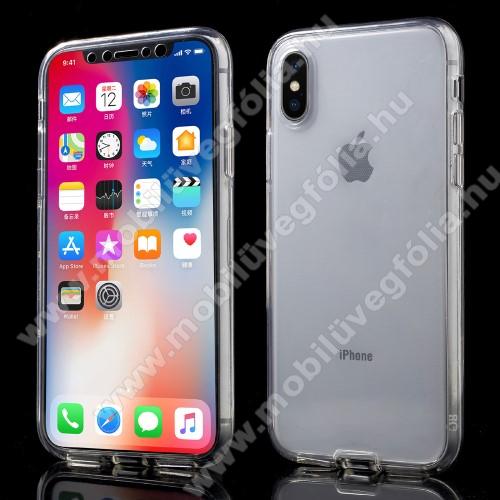 Szilikon védő tok - műanyag előlap, szilikon hátlap! - FÉNYES - ÁTLÁTSZÓ - APPLE iPhone X / APPLE iPhone XS