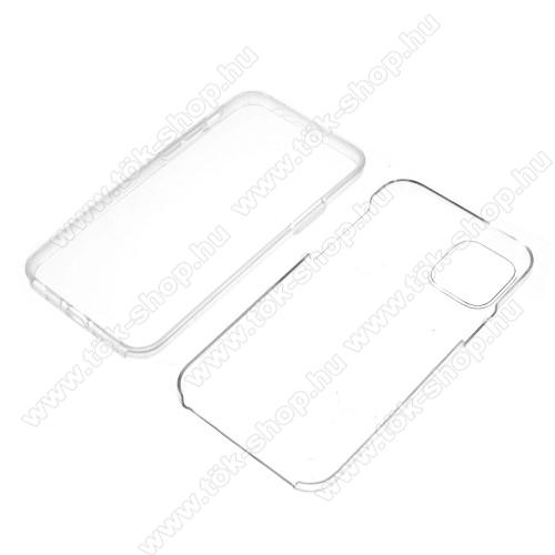 Szilikon védő tok / műanyag hátlap - szilikon előlap és műanyag hátlap védő, 360 fokos védelem! - ÁTLÁTSZÓ - APPLE iPhone 11