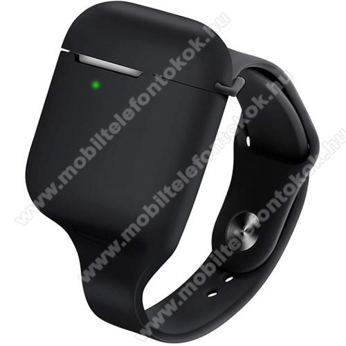 Szilikon védő tok / szíj Apple AirPods / AirPods 2-höz - csuklóra rögzíthető szíj, sportoláshoz ajánlott, ultravékony!, töltőnyílás, 155-250mm átmérőjű csuklóméretig ajánlott - FEKETE