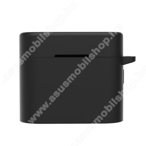 Szilikon védő tok Xiaomi Air 2 Pro bluetooth headset-hez - töltőnyílás, karabiner - FEKETE