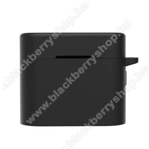 Szilikon védő tok Xiaomi Mi AirDots Pro 2 bluetooth headset-hez - töltőnyílás, karabiner - FEKETE