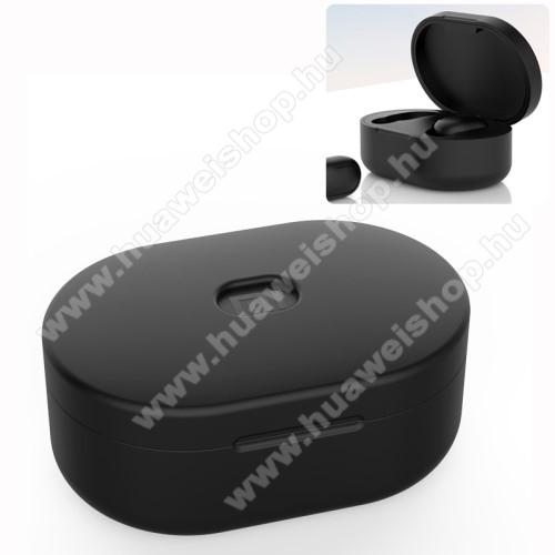 Szilikon védő tok XIAOMI Redmi AirDots bluetooth headset-hez - töltőnyílás, 1,2mm vékony - FEKETE
