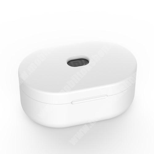 Szilikon védő tok XIAOMI Redmi AirDots bluetooth headset-hez - töltőnyílás, 1,2mm vékony - FEHÉR