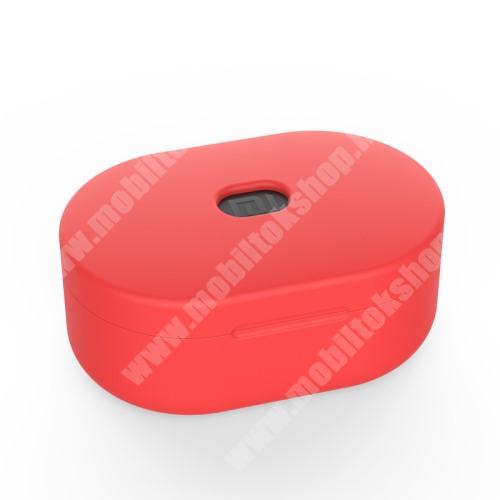 Szilikon védő tok XIAOMI Redmi AirDots bluetooth headset-hez - töltőnyílás, 1,2mm vékony - PIROS