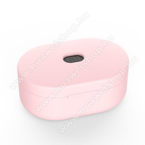 Szilikon védő tok XIAOMI Redmi AirDots bluetooth headset-hez - töltőnyílás, 1,2mm vékony - RÓZSASZÍN