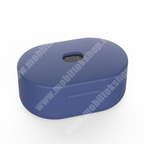 ZTE Blade Qlux 4G Szilikon védő tok XIAOMI Redmi AirDots bluetooth headset-hez - töltőnyílás, 1,2mm vékony - SÖTÉTKÉK
