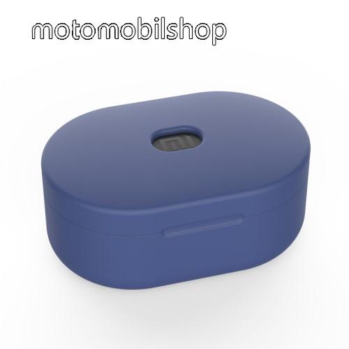 Szilikon védő tok XIAOMI Redmi AirDots bluetooth headset-hez - töltőnyílás, 1,2mm vékony - SÖTÉTKÉK
