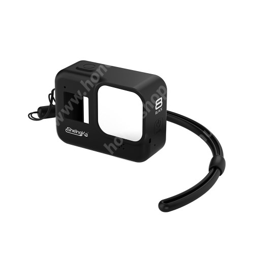 Szilikon védőtok GoPro Hero 8-hoz - csuklópánttal - FEKETE