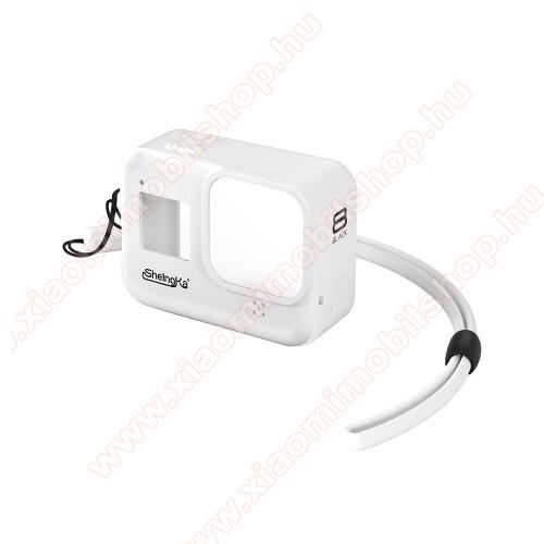 Szilikon védőtok GoPro Hero 8-hoz - csuklópánttal - FEHÉR