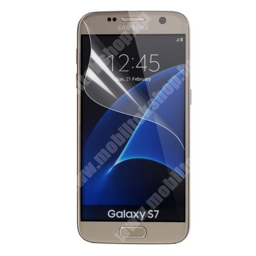 Szilikonos képernyővédő fólia, teljes kijelzőre - Clear - 1db, törlőkendővel - SAMSUNG SM-G930 Galaxy S7