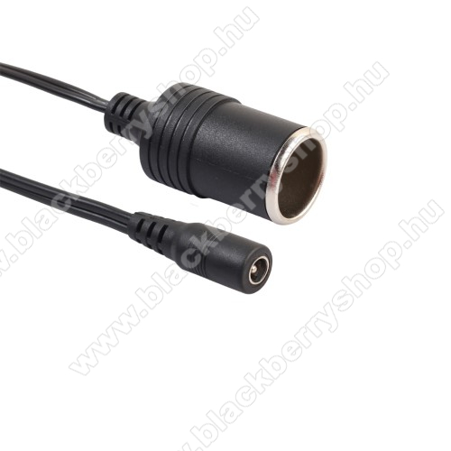 Szivargyújtó adapter kábel - 12-24VDC, 30cm, max 10A, DC5521-es kábelhez - FEKETE