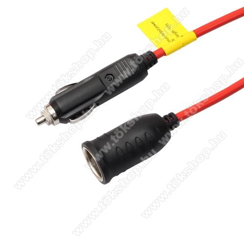 Szivargyújtó hosszabbító kábel - 12-24VDC, 3,6m, max 10A - FEKETE